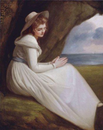 Emma Hart as Ariadne   George Romney   oil painting