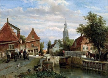 A view of the Staal Everspijp and the Grote Kerk in summer Enkhuizen | Cornelius Springer | oil painting