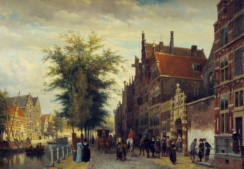 Het Atheneum Illustre aan de Oudezijds Voorburgwal te Amsterdam | Cornelius Springer | oil painting