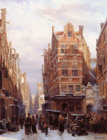 The Jewish quarter in Amsterdam | Cornelius Springer | oil painting