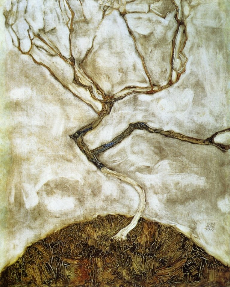 A Tree in Late Autumn   Egon Schiele   oil painting