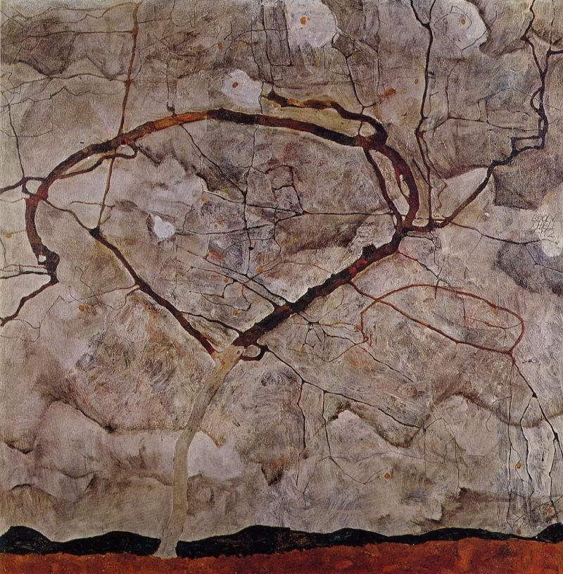Autumn Tree in Movement | Egon Schiele | oil painting