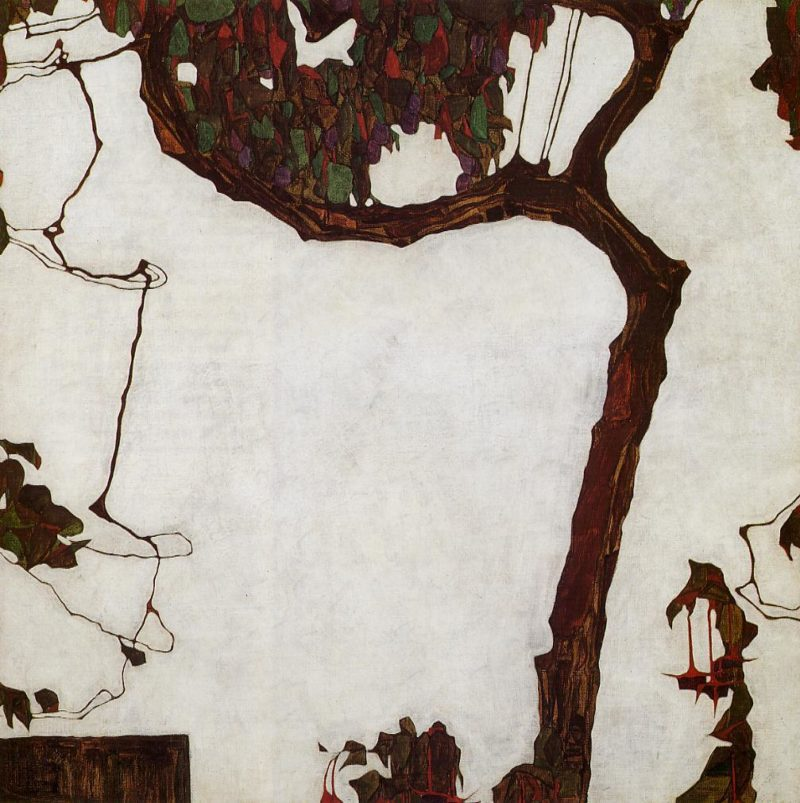 Autumn Tree with Fuchsias | Egon Schiele | oil painting