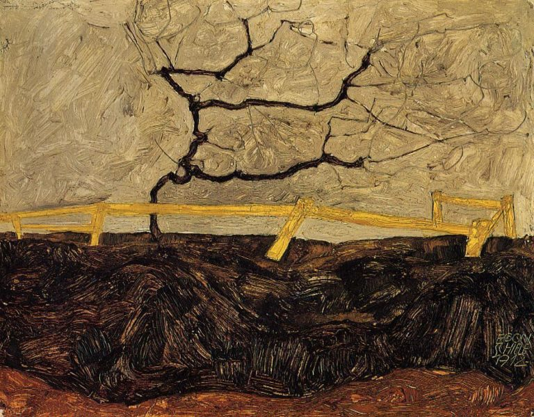 Bare Tree behind a Fence | Egon Schiele | oil painting