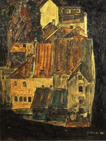 City on the Blue River I | Egon Schiele | oil painting