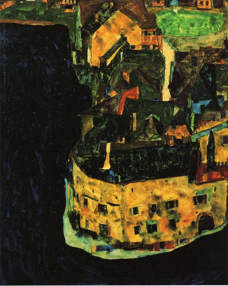 City on the Blue River | Egon Schiele | oil painting