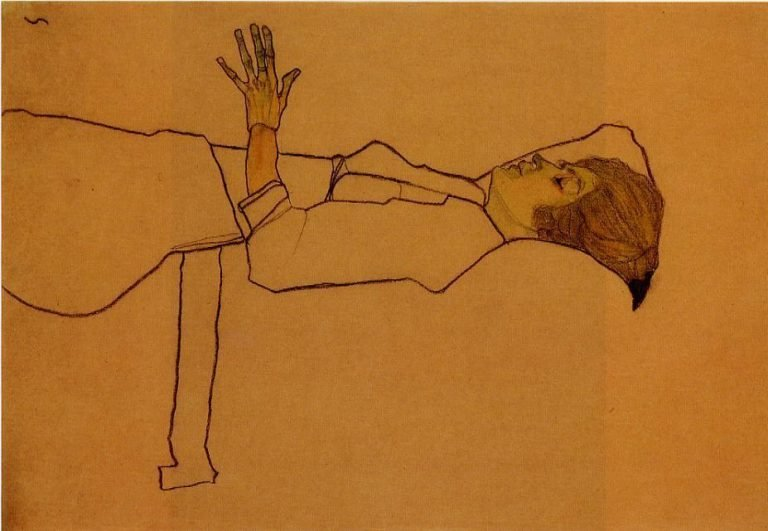 Clothed Woman Reclining | Egon Schiele | oil painting