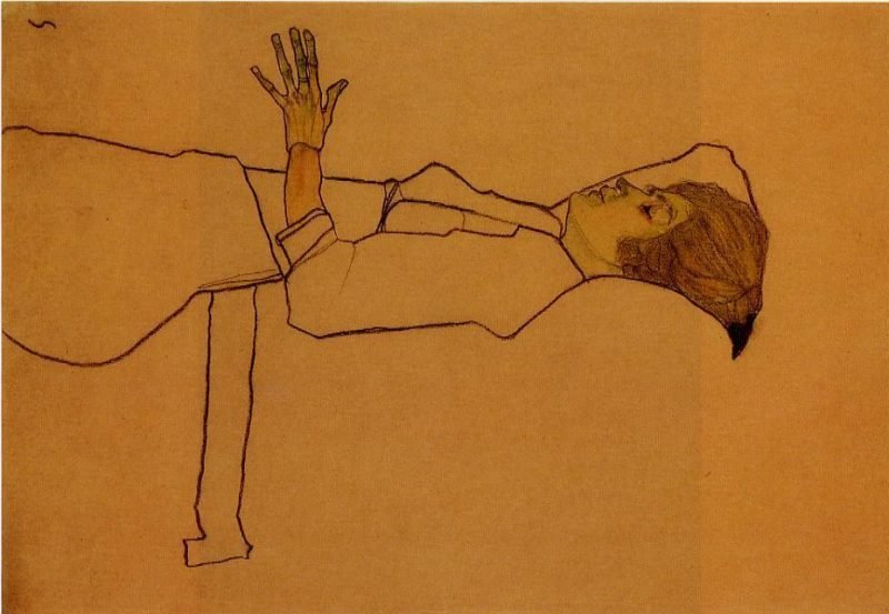 Clothed Woman Reclining   Egon Schiele   oil painting