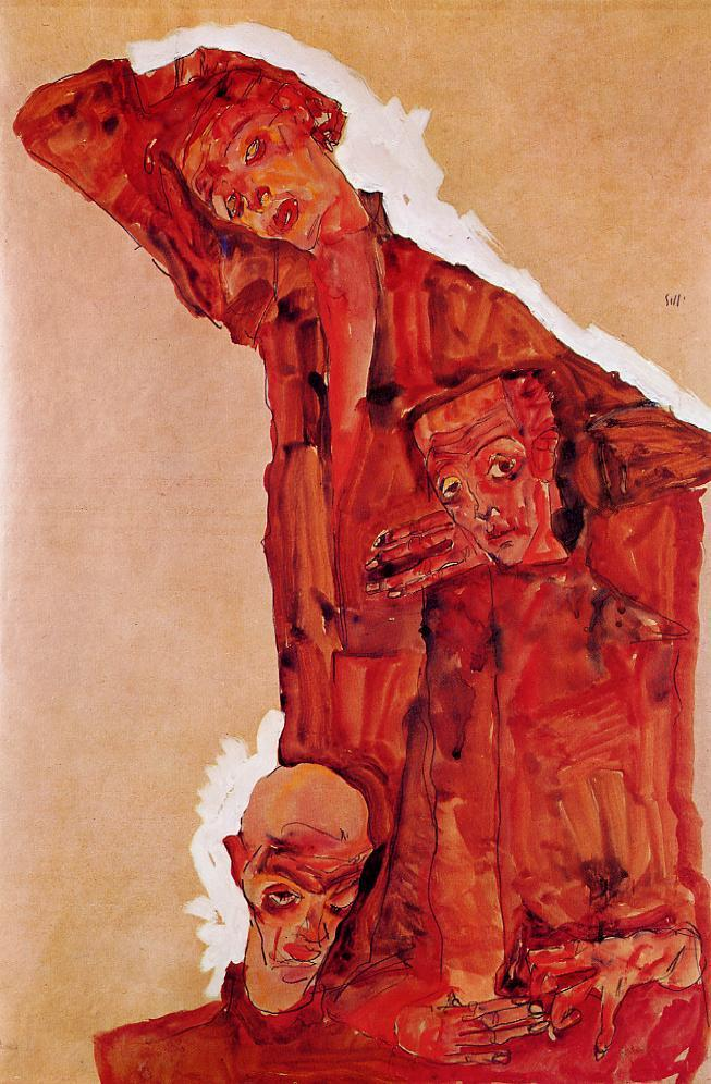 Composition with Three Male Figures | Egon Schiele | oil painting