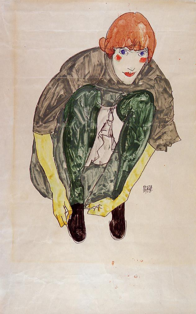 Crouching Figure | Egon Schiele | oil painting