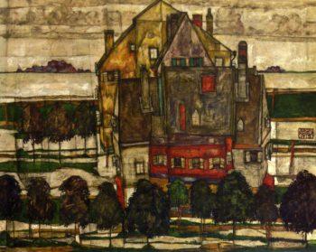 Einzeine Hauser | Egon Schiele | oil painting