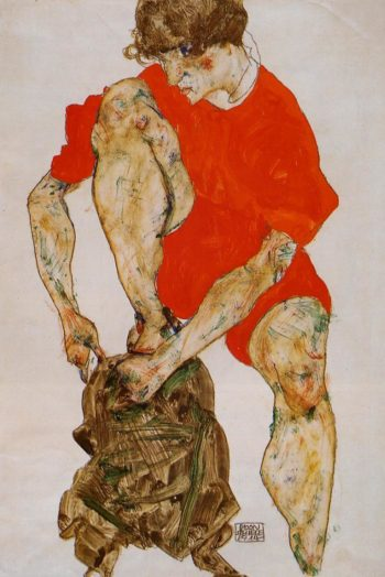 Female Model in Bright Red Jacket and Pants | Egon Schiele | oil painting