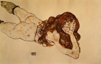 Female Nude Lying on Her Stomach | Egon Schiele | oil painting