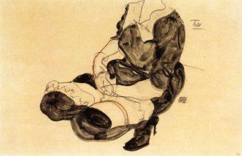 Female Torso Squatting | Egon Schiele | oil painting