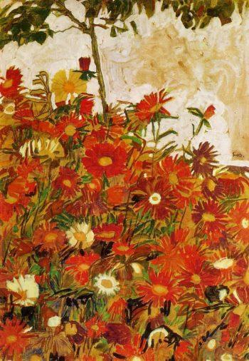Field of Flowers | Egon Schiele | oil painting