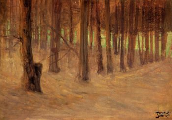 Forest with Sunlit Clearing in the Background | Egon Schiele | oil painting