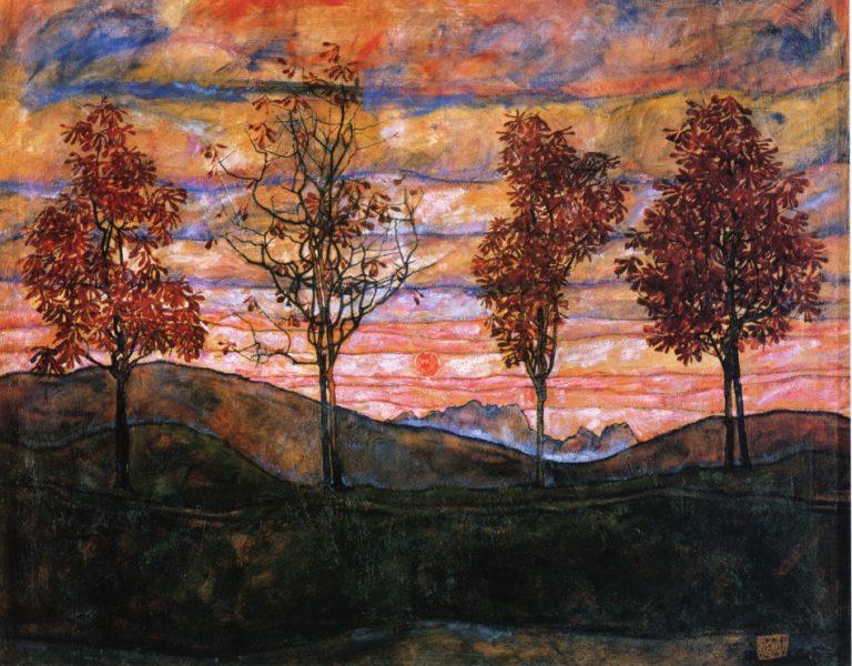 Four Trees | Egon Schiele | oil painting