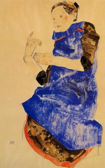 Girl in a Blue Apron | Egon Schiele | oil painting