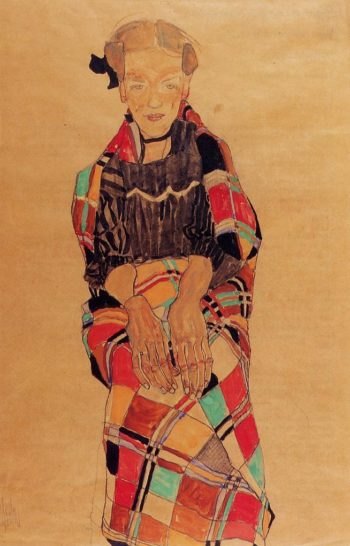 Girl in Black Pinafore Wrapped in Plaid blanket | Egon Schiele | oil painting