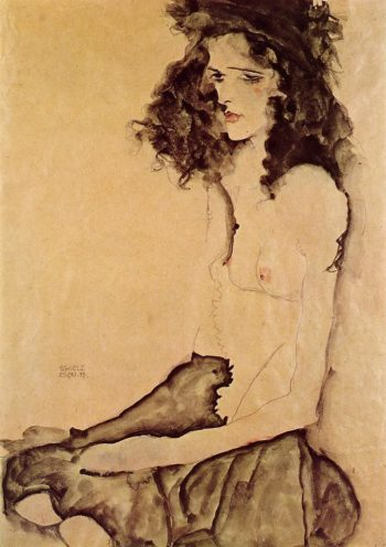 Girl in Black | Egon Schiele | oil painting