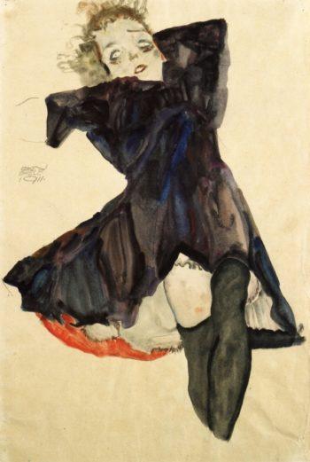 Girl in Blue Dress | Egon Schiele | oil painting