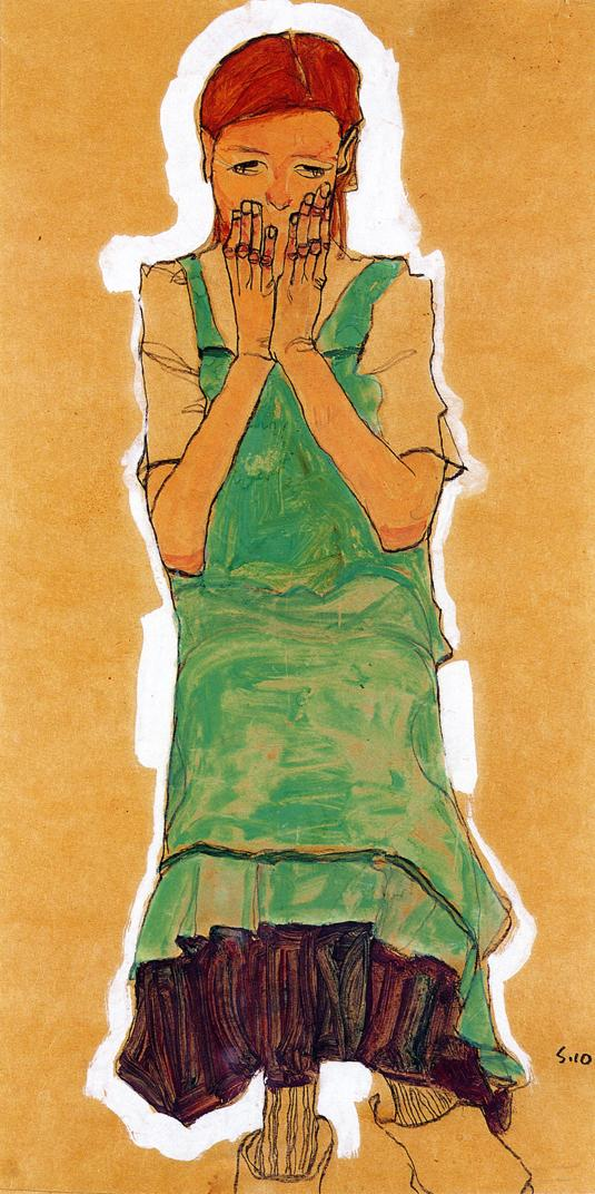 Girl with Green Pinafore | Egon Schiele | oil painting