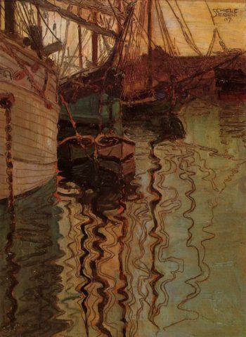 Harbor of Trieste | Egon Schiele | oil painting