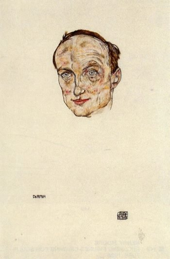 Head of Dr Fritsch | Egon Schiele | oil painting
