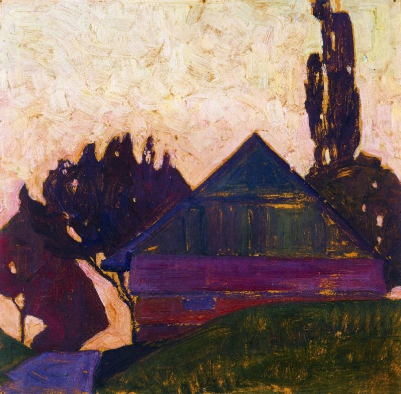 House Between Trees I   Egon Schiele   oil painting