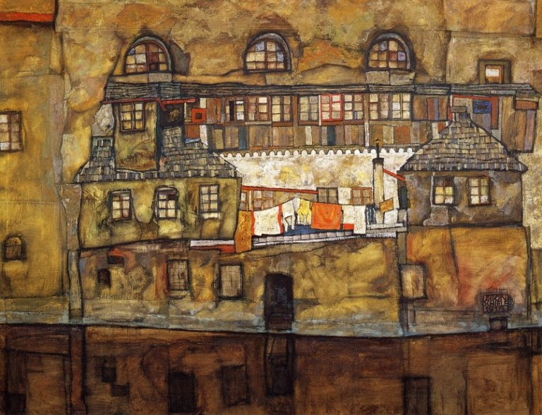 House on a River | Egon Schiele | oil painting
