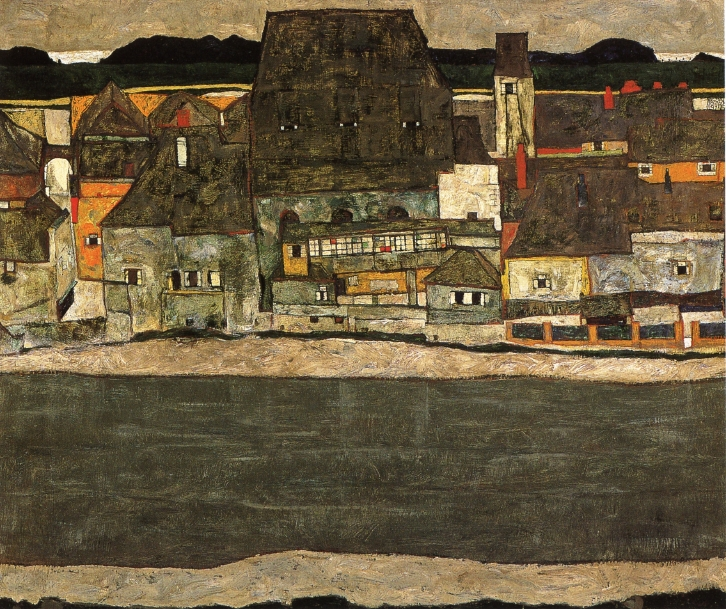 Houses by the River II | Egon Schiele | oil painting