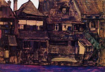 Houses on the Moldau Krumau | Egon Schiele | oil painting