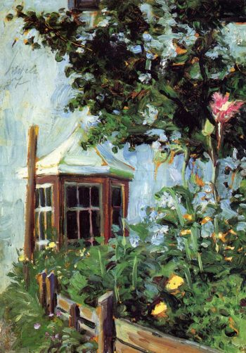 House with a Bay Window in the Garden | Egon Schiele | oil painting