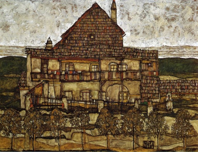 House with Shingles | Egon Schiele | oil painting