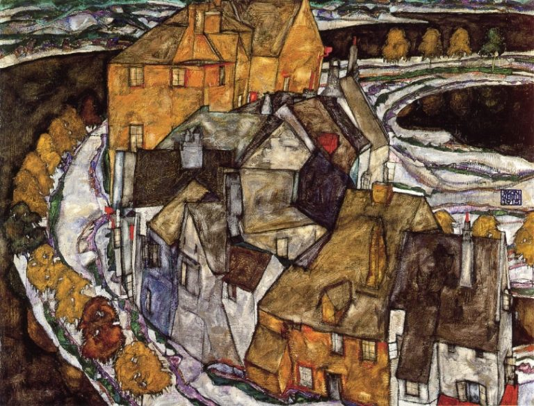Island Town | Egon Schiele | oil painting