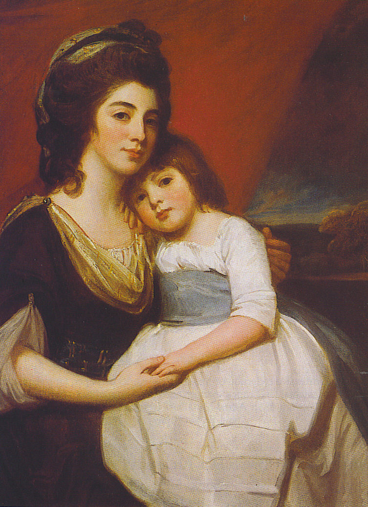A Portrait of Lady Georgiana Smyth and Child | George Romney | oil painting