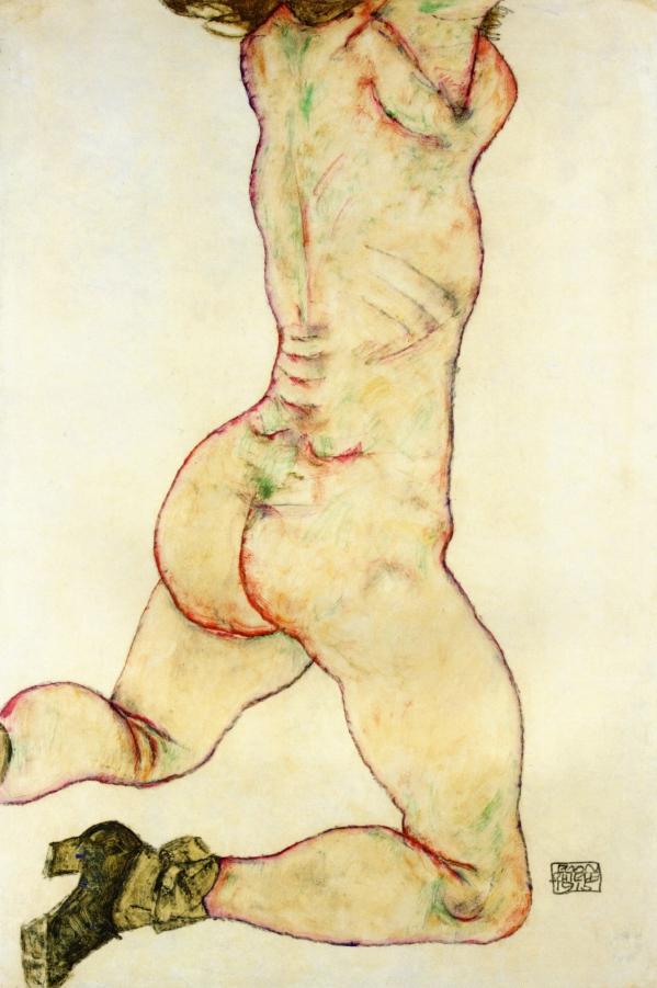 Kneeling Female Nude Back View   Egon Schiele   oil painting