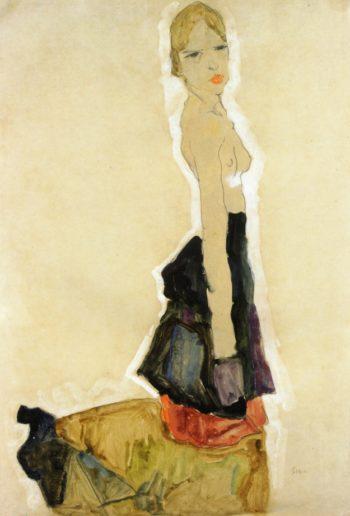 Kneeling Semi Nude | Egon Schiele | oil painting