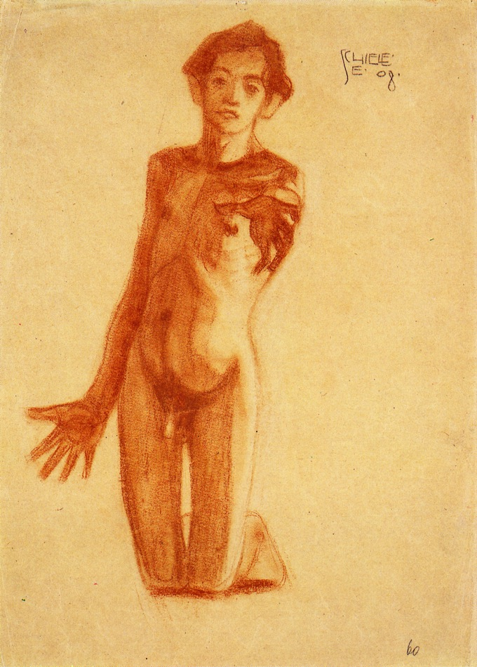 Kneeling Young Man | Egon Schiele | oil painting