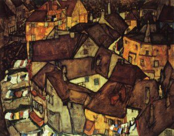 Krumau Town Crescent I | Egon Schiele | oil painting