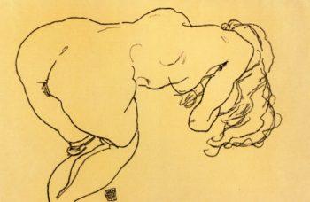 Langhaariger Akt vornubergebeugt Ruckenansicht | Egon Schiele | oil painting