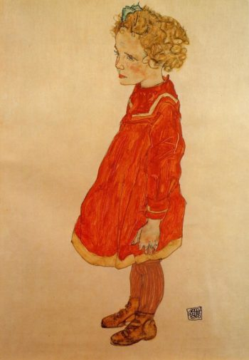 Little Girl with Blond Hair in a Red Dress | Egon Schiele | oil painting