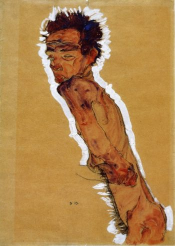 Male Nude in Profile Facing Left | Egon Schiele | oil painting