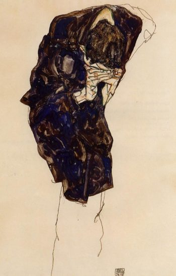 Man Bencind Down Deeply | Egon Schiele | oil painting