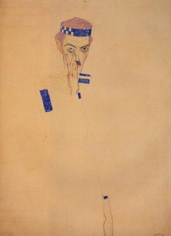 Man with Blue Headband and Hand on Cheek | Egon Schiele | oil painting