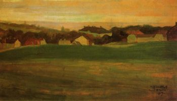 Meadow with Village in Background II | Egon Schiele | oil painting