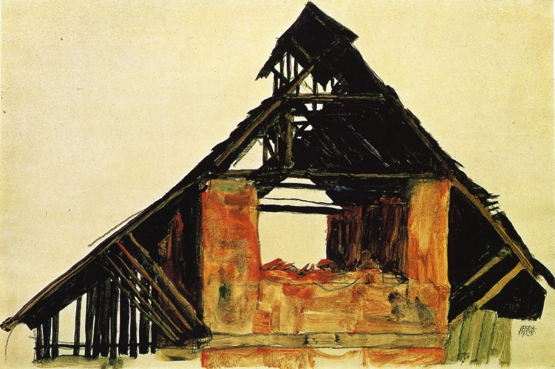 Old Brick House in Carinthia | Egon Schiele | oil painting