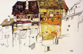 Old Houses in Krumau | Egon Schiele | oil painting
