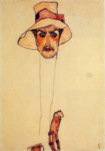 Portrait of a Man with a Floppy Hat | Egon Schiele | oil painting