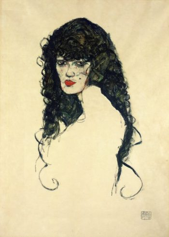 Portrait of a Woman with Black Hair | Egon Schiele | oil painting